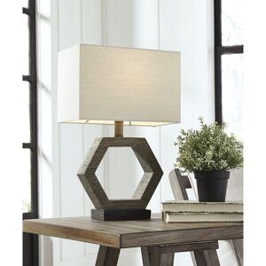 "Signature Design by Ashley Marilu Poly 19 Inch Table Lamp - Gray and Brown - 12"" W x 7"" D x 18.88"" H (12"" W x 7"" D x 18.88"" H - Gray/Brown)"