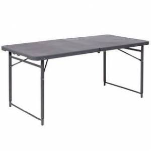Lancaster Home 23x48 Plastic Bi-Fold Table (Dark Grey)