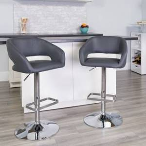 Porch & Den Vinyl Adjustable Height Barstool with Rounded Mid-Back and Chrome Base (Grey)