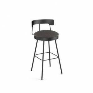 Amisco Monza Swivel Counter and Bar Stool (Grey Polyurethane / Black Metal - Bar Height - 29-32 in.)