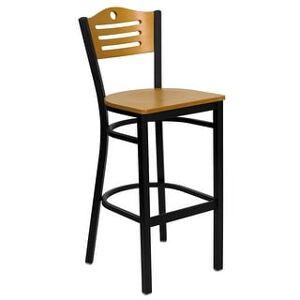 """Lancaster Home Black Slat Back Metal Restaurant Barstool - 16.5""""W x 20.25""""D x 42.75""""H (Natural Wood Back/ Natural Wood Seat)"""