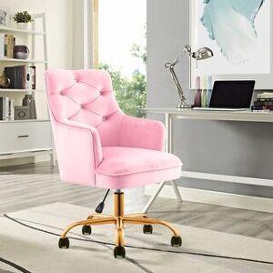 Overstock Tufted Velvet Swivel Adjustable Home Office Chair Gold glide casters (Pink)