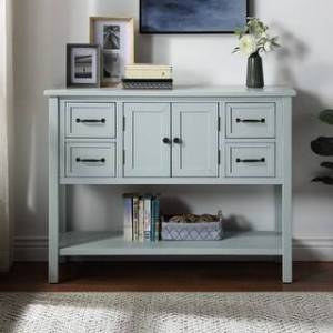 Merax 43'' Modern Console Table with 4 Drawers, 1 Cabinet and 1 Shelf (Light Blue)