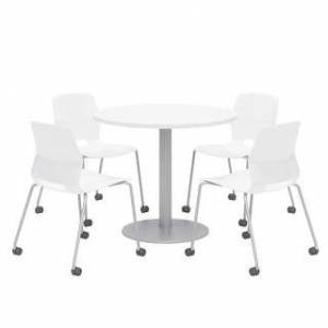 "Overstock Olio Designs Round Dining Table Set, Lola Caster Chairs, Designer White (42"" Dia. - White)"