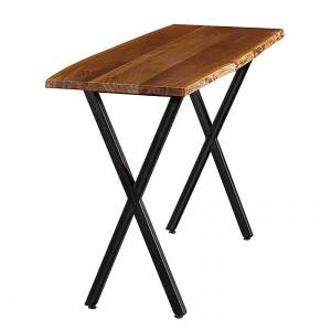 Rio Carbon Loft Cubillo Handmade Real Walnut Live Edge Console Table with Black Steel Base (Natural - Wood)