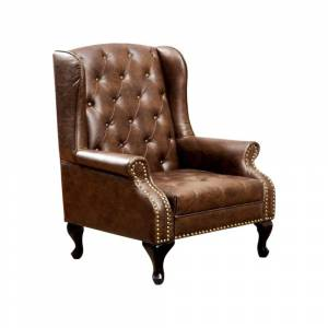 Benzara Vaugh Traditional Wing Accent Chair In Nail Head, Rustic Brown Finish (Brown)