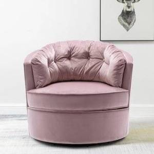 Overstock Modern Akili Swivel Accent Chair Barrel Chair For Living Room (Pink)