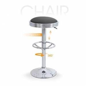 Alpha HOME Swivel Bar Stool Counter Height Round PU Leather with Chrome Footrest -1 pc (Black)