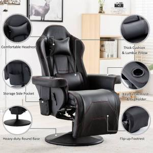 Overstock Reclining Gaming Chair With Adjustable Headrest And Lumbar Support (Lumbar Support - Swivel - High Back - Steel - Assembly Required - Black - Modern