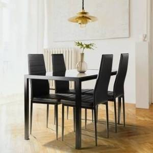 Overstock 5 Pieces Dining Table Set for 4 With 4 Faux Leather Chairs (Black)