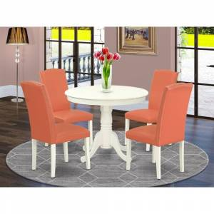East West Furniture Round 36 Inch Table and Parson Chairs in Pink Flamingo PU Leather (Number of Chairs Option) (5-Piece Sets - 4)