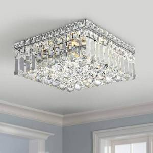 Brilliance Lighting and Chandeliers Glam Art Deco Style 4-light 12 inch Square Chrome Finish Crystal Flush Mount Ceiling Light - Small Flush Mount (4 Lights Flush Mount)