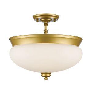 Avery Home Lighting 3 Light Semi Flush Mount in Satin Gold (Flush Mount)