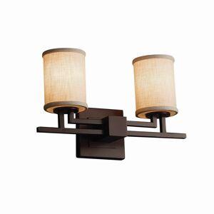 Justice Design Textile Aero 2-light Dark Bronze Bath Bar, Cream Cylinder - Flat Rim Shade (Dark Bronze, Off-White)