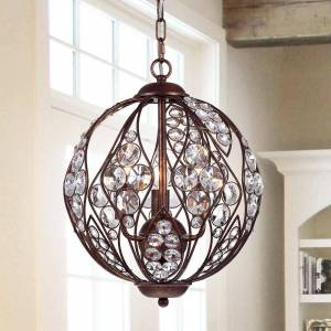 Warehouse of Tiffany Drusia Rustic-finished Iron and Crystal 13-inch Globe Pendant Light (3-Light 13-Inch Rustic Iron Crystal Globe)