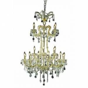 Overstock Fleur Illumination Collection Chandelier D:32in H:50in Lt:24 Gold Finish (royal cut crystals/Gold)