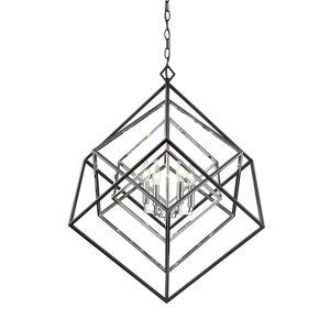 Avery Home Lighting Euclid 4-light Chandelier (Black/Chrome - Chrome)