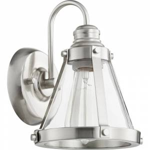 Quorum International Banded Cone Family Clear Glass Vanity or Sconce, 1 Light. (satin nickel)