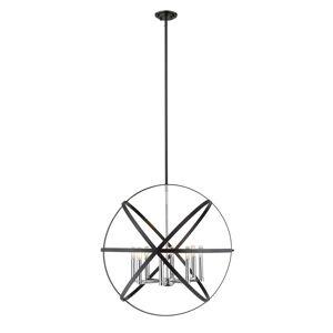 Avery Cavallo 8 Light Pendant (Hammered Black + Chrome)
