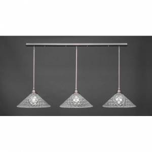 Toltec Lighting Toltec 3 Light Pendant Shown In Brushed Nickel Finish with Glass Shade (Clear - cone)