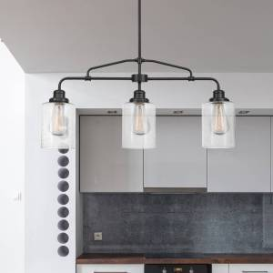 Copper Grove Mohyliv 3-light Dark Bronze Linear Chandelier with Seeded Glass Shades