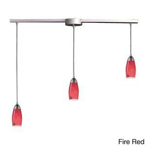 Elk Lighting Milan 3-light Satin Nickel and Starlight Blue Glass Pendant (Fire Brick)