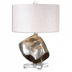 Uttermost Everly 1-light Crystal Foot Table Lamp (Mercury Glass with Crystal Foot Lamp)