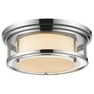 Avery Home Lighting Luna 3-light Chrome with Matte Opal Glass Shade Flush Mount - Silver (Chrome)