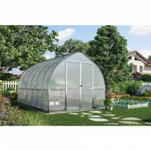 Palram Bella 8' x 16' Hobby Greenhouse with Twin Wall Roof Panel and Aluminum Frame - Silver (Aluminum/Steel - Hobby)