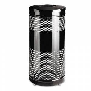 Rubbermaid Commercial Classics Perforated Open Top Receptacle Round Steel 25gal Black (Black)