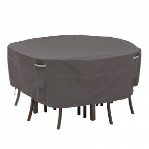 Classic Accessories Ravenna Water-Resistant 70 Inch Round Patio Table & Chair Set Cover (Taupe)