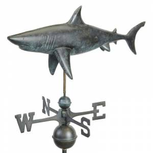 Good Directions Shark Weathervane - Pure Copper Hand Finished Grey Patina by Good Directions (Grey - Weather Vane - Copper - Assembly Required)