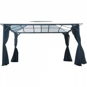 Hanover 13-Ft. x 10-Ft. Aluminum Hardtop Gazebo with Polycarbonate Roof Panels, Sunshade Curtains, and Mosquito Netting