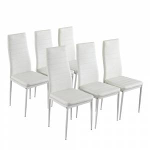 LivEditor 6pcs Elegant Assembled Texture High Backrest Dining Chairs B White (Set of 6 - Bar Height - 29-32 in. - White)