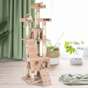 """Overstock 66"""" Stable Cute Sisal Cat Climb Holder Pets Tower Cat Tree House (Beige)"""