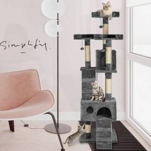 """Overstock 66"""" Stable Cute Sisal Cat Climb Holder Pets Tower Cat Tree House (Grey)"""