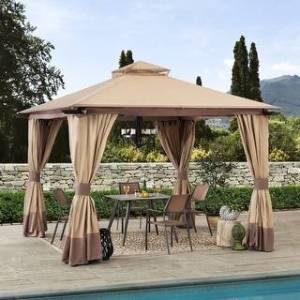 Sunjoy 12 Ft. x 12 ft. Tan and Brown Steel Soft Top Gazebo (12 Ft. x 12 Ft.)