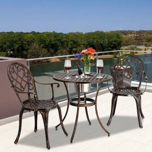 Overstock European Style Outdoor 3 Piece Patio Bistro Set of Table and Chairs (Brown)