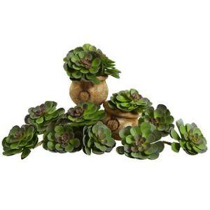 Nearly Natural 6-inch Echeveria Succulent (Set of 12) (Green Burgundy)