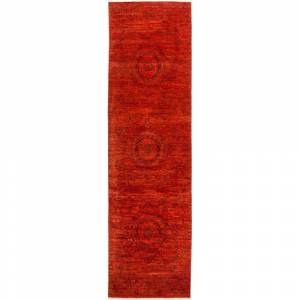 Overstock Contemporary Colorful One-of-a-Kind Hand-Knotted Runner Area Rug - 3 x 10 (3 x 10 - Red)