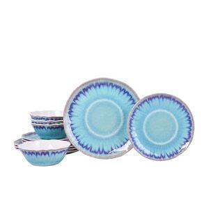 222 Fifth Sea Splash Turquoise 12 Piece Melamine Dinnerware Set, Service for 4 (12 Piece - Turquoise)