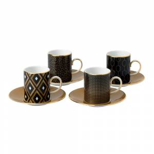 Wedgwood Arris Espresso Fine Bone China Accent Cups and Saucers (Set of 4)