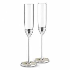 Wedgwood With Love Nouveau Metal and Crystal Toasting Flutes (Set of 2) (Off-White)