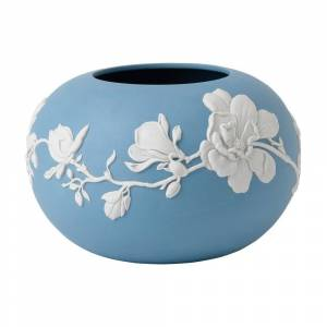 Wedgwood Jasperware Blue 6-inch Magnolia Blossom Rose Bowl