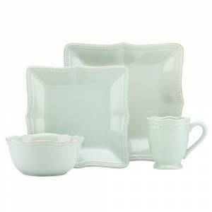 Lenox French Perle Bead Ice Blue Stonewarer Square 4-piece Place Setting (FRENCH PRL BEAD ICE BLUE DW SQ 4PPS)
