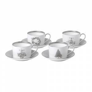 Wedgwood Winter White Teacup and Saucer, Set of 4