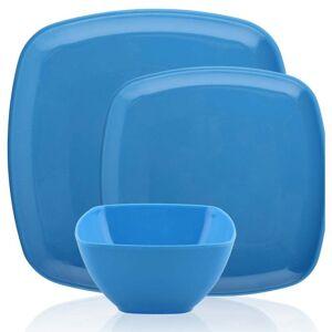 Overstock Melange 36 Pcs Melamine Square Dinnerware Set Squares Solid Shatter Proof Dinner Plate Salad Plate & Soup Bowl 12 Each Blue