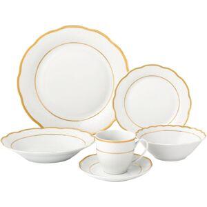 Lorren Home Trends 24 Piece Gold Wavy Dinnerware-Porcelain-Srvice for 4-Gloria (24 Piece)