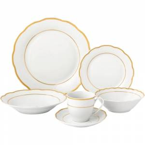 Lorren Home Trends 24 Piece Gold Wavy Dinnerware-Porcelain-Srvice for 4-Gloria (24 Piece)