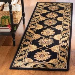 "Safavieh Handmade Heritage Karissa Traditional Oriental Wool Rug (2'3"" x 16' Runner - Black)"